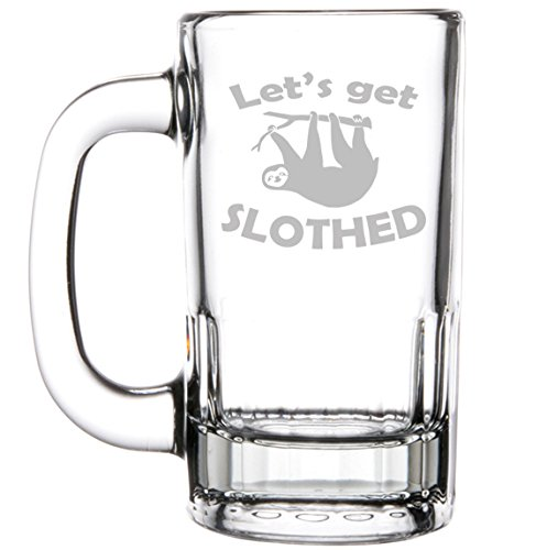 12oz Beer Mug Stein Glass Funny Sloth Let's Get Slothed by