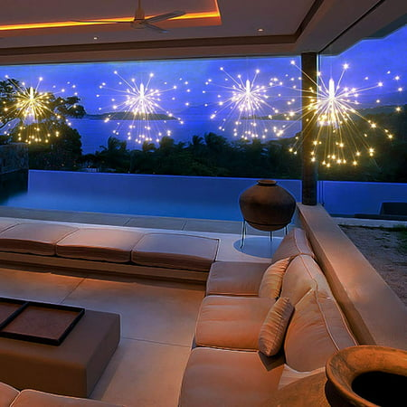 Hanging Decorative Lights,120 Led Firework Lights Battery Powered, Tent Chandelier Remote Control, Waterproof Starburst Lights for Gardens Courtyards Porches Christmas Party Decorations, Warm White