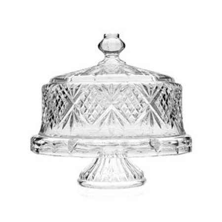Shannon 4-in-1 Footed Leaded Crystal Cake Plate with Covered (Garden Crystal Footed Cake Plate)