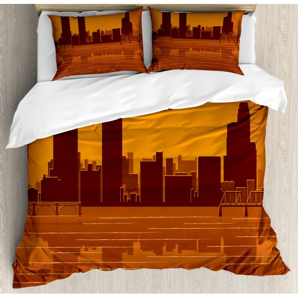 Michigan Duvet Cover Set Grand Rapids Michigan Skyline With Reflection In Water Orange Colored Decorative Bedding Set With Pillow Shams Burnt Orange And Brown By Ambesonne Walmart Com Walmart Com