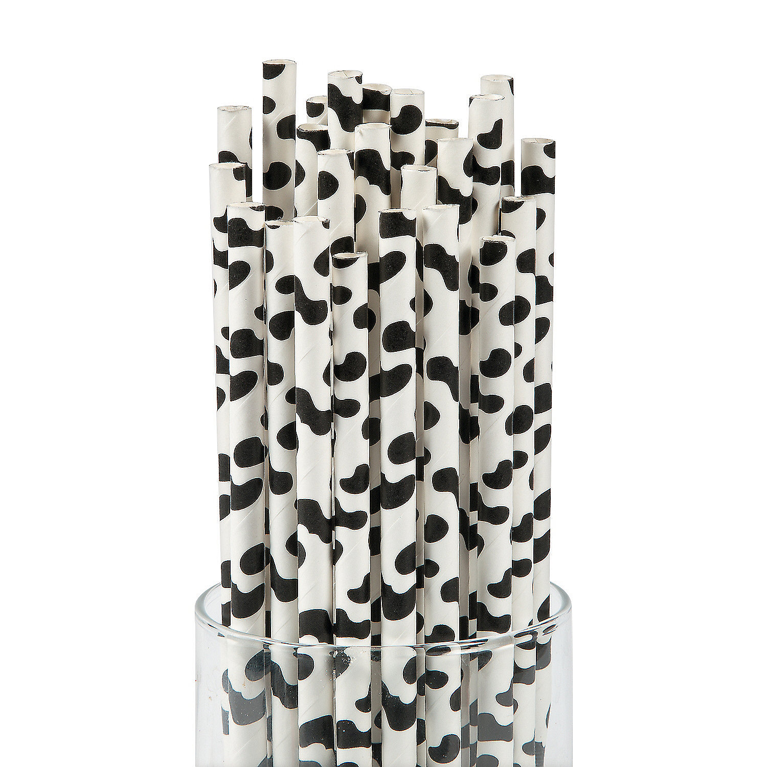 IN-13706180 Cow Print Paper Straws 24 Piece(s)