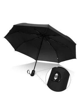 QF Travel Umbrella Auto Open Compact Folding Sun & Rain Protection Windproof Portable Umbrella for Kids Women Men (Black)