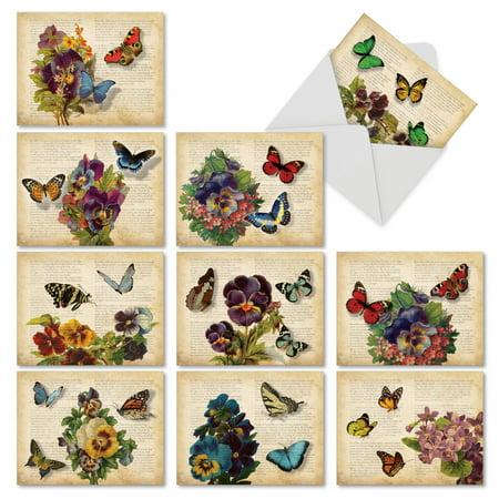 AM6477TTG-B1x10  Teacher Thank You Card 'Fluttering Words' with Envelope by