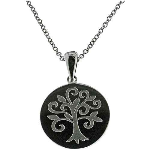 """Connections from Hallmark Stainless-Steel Inscribed Family Tree Disk Pendant, 18-20"""""""
