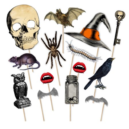 14 Pcs Halloween Funny Photo Booth Props DIY Kit Haunted House Birthday Party Photobooth Accessories Centipede Skeleton Bats - Halloween Photo Project
