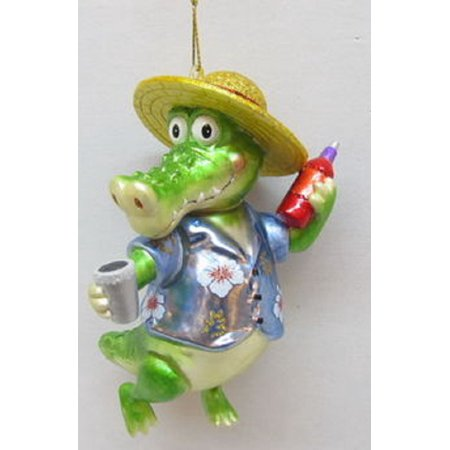 December Diamonds Alligator Boy with Drink Glass Christmas Ornament 7979291 New ()