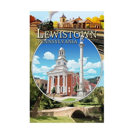 lewistown pennsylvania montage scenes art print by lantern press