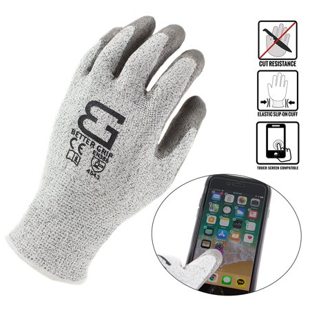 Better Grip BGCRPU Level 5 Cut Resistant Shell PU Coating Work Gloves | Work For Smart Phone, Text, Call, (Pack of 3, Small, White Gray)