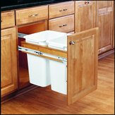 Double Top-Mounting Pull-Out Waste Container - 4WCTM18DM2 - Total Capacity 70 qt,