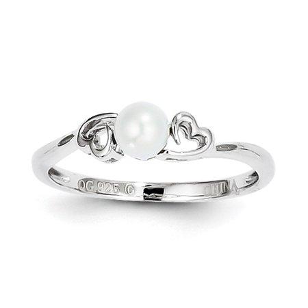 Ladies 925 Sterling Silver June Birthstone FW Cultured Pearl Heart Ring 5