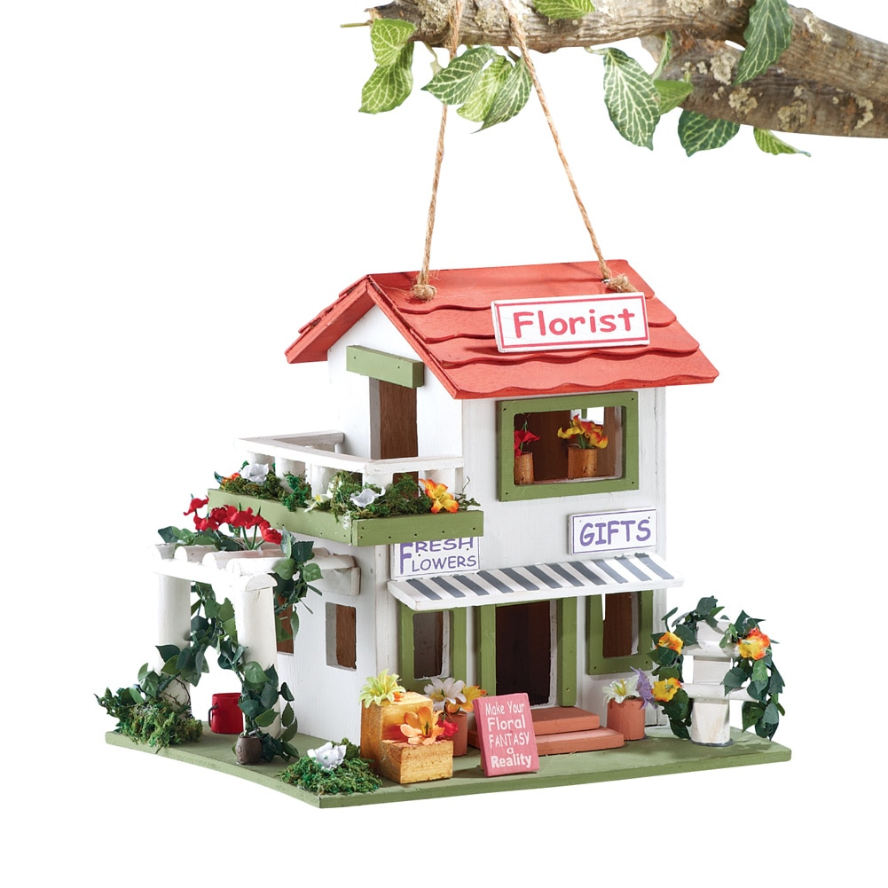 Flower Shop Hanging Birdhouse, Multi by Collections Etc
