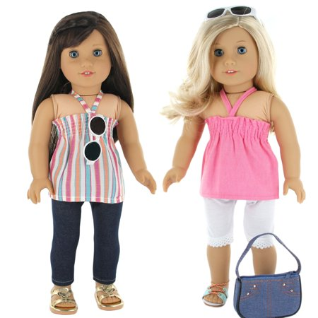 7 Pc. Casual Everyday Outfit Set Fits 18 Inch Doll Clothes Includes- X2 Pants... (Nice Everyday Outfits)