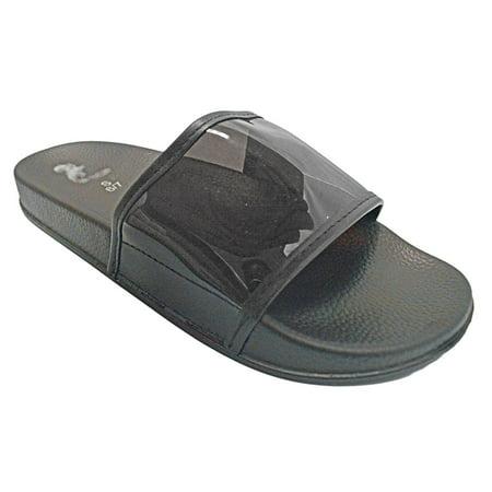 Shop Pretty Girl Women's Faux Fur Slip on Flip Flop Slide Soft Flat Slipper Mule Sandals Clear Transparent (Girls Ipanema Flip Flops)