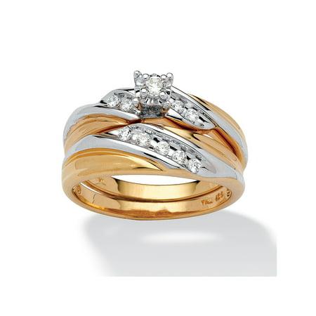 18k Bridal Set Ring - .24 TCW Round Cubic Zirconia 18k Gold over Sterling Silver Bridal Engagement Ring Wedding Band Set