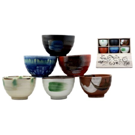 Ebros Japanese Abstract Art Colorful Dinnerware Bowl Set of 6 Made In Japan Spiritual Artistic Pottery Decor In Traditional Wooden Box Packaging Microwave Safe Kitchen Dining Accessory ()