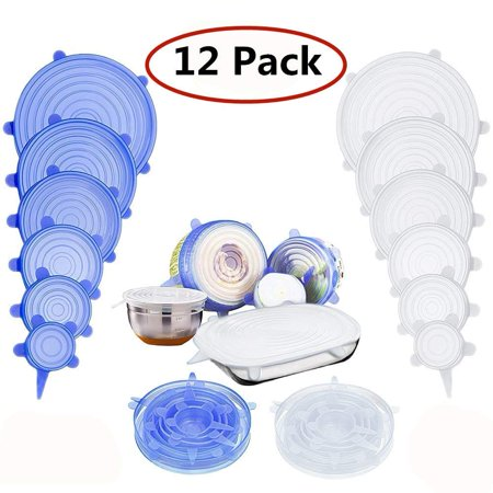 Reusable Silicone Stretch Lids,Airtight Food Storage Covers Various Sizes Seal Bowl Stretchy Wrap Cover Keep Food Fresh for Containers, Cups, Plates, Microwave, Dishwasher Safe(12