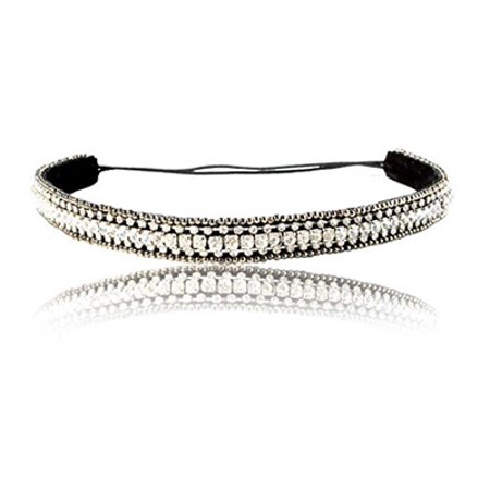 Wedding Bridal Silver Straight Diamond Headband With Adjustable Strap and Non-Slip Grip Backing (Wedding Slips)
