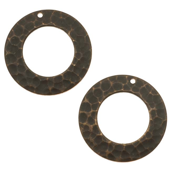 Vintaj Natural Brass Hammered Ring Open Circle Charms 22mm (2)
