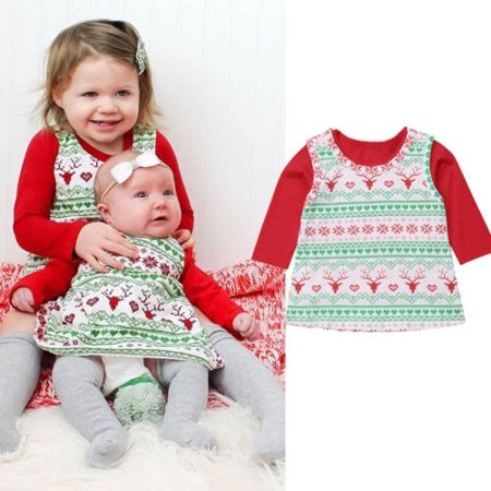 Infant Toddler Christmas Dresses (Xmas Newborn Baby Infant Girl My Christmas T-shirt Tutu Dress Outfit Clothes)