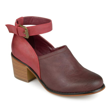 Womens Faux Leather Wood Stacked Heel Ankle Strap Clogs Ankle Strap Mini Heels