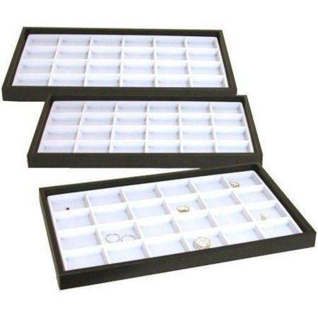 3 Jewelry Display Trays White 24 Slot Charm & Coin Case Coin Collection Display