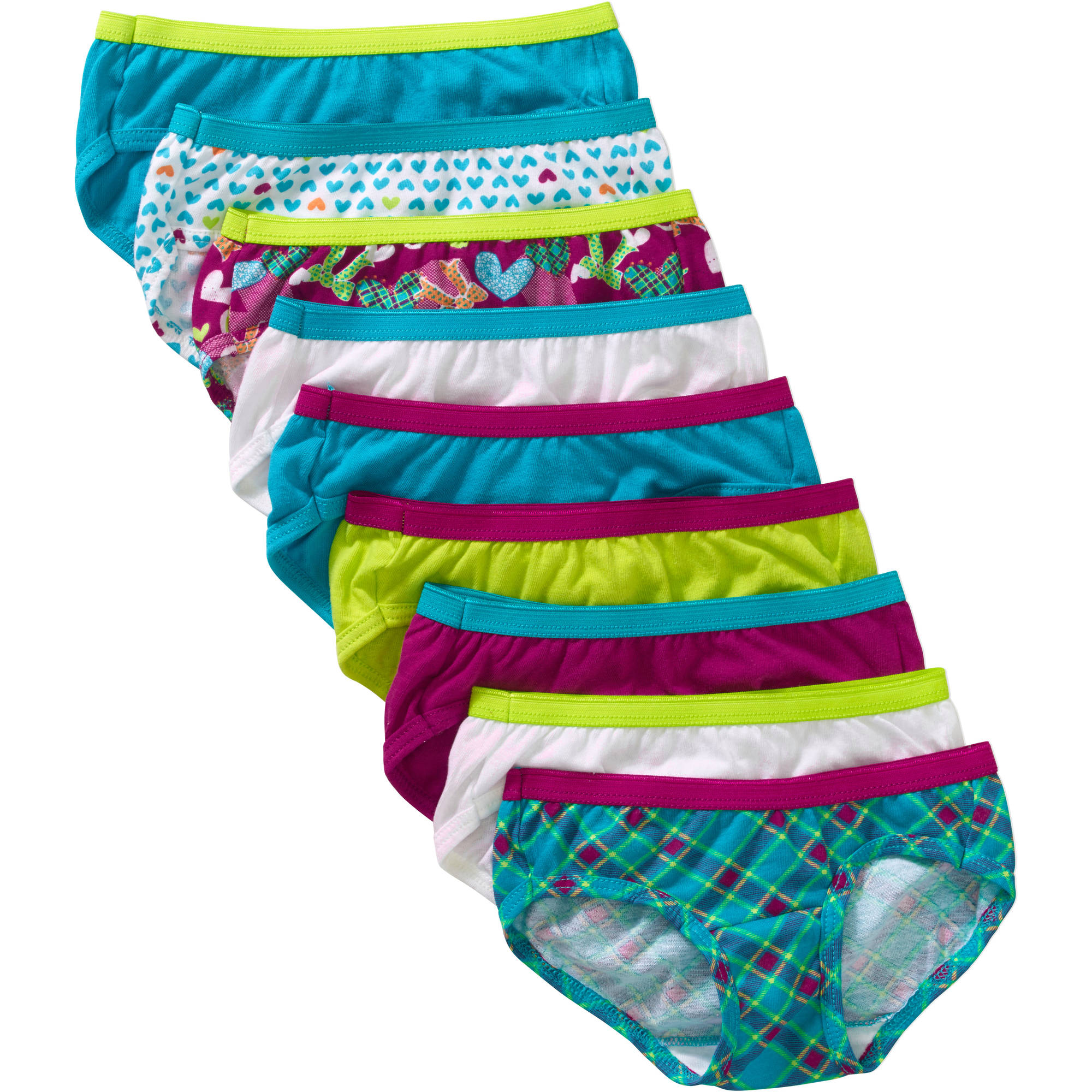 Hanes Girls' Assorted No Ride Up Cotton Hipster Panties 9 Pack