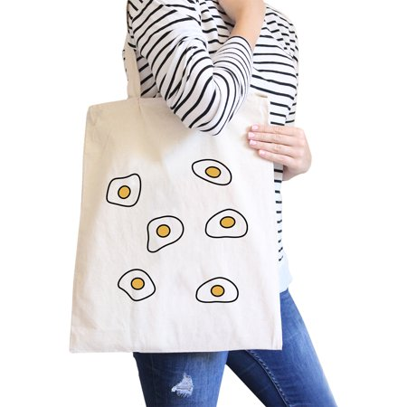 Fried Egg Pattern Natural Canvas Bag Shopper Bags For Food lovers (Shoppers Food Warehouse)