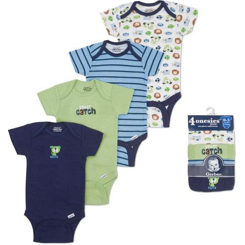 Gerber Onesies Brand Newborn Baby 4-Pack Short Sleeve One-Piece Underwear