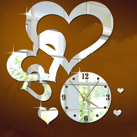 Homeholiday Heart to Heart Mirror Sticker Clock Acrylic DIY Wall Clock Decals Home Decoration Crystal Mirror Wallpaper - image 3 of 4