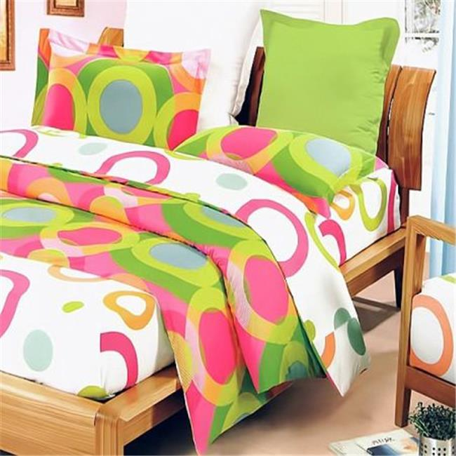 MINIDUVET-DDX01020-FULL Rhythm of Colors - 100 Percent Cotton  3 Pieces Mini Comforter Cover & Duvet Cover Set  Full Size - Green