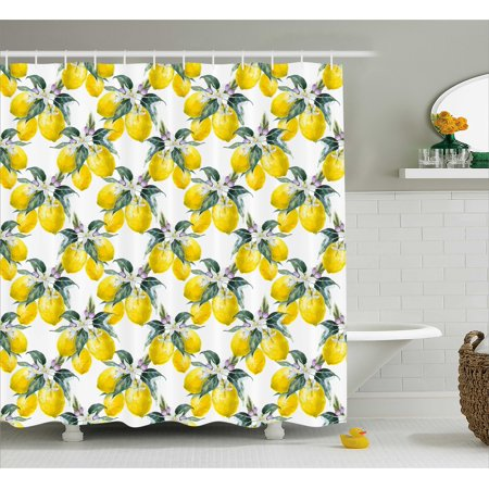 Nature Shower Curtain Lemons Flowers Inspirational Summer Season Fruits Mother Earth Boho Pattern Fabric