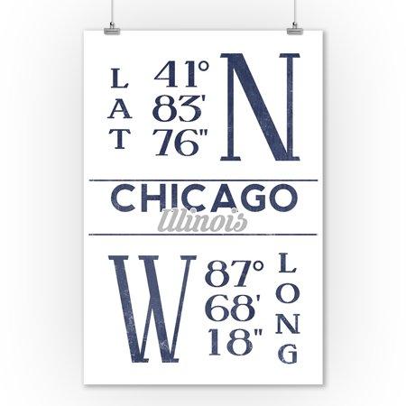 Chicago, Illinois -  Latitude & Longitude (Blue) - Lantern Press Artwork (9x12 Art Print, Wall Decor Travel Poster)