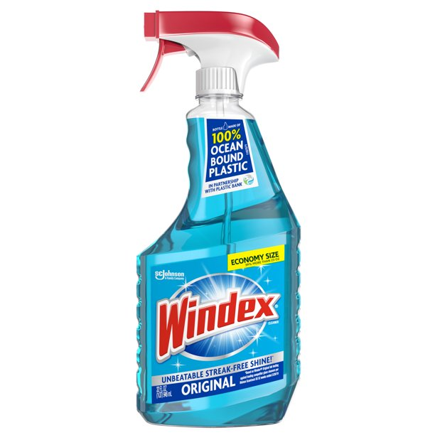 Windex Glass Cleaner Spray Bottle, Original Blue, 32 fl oz