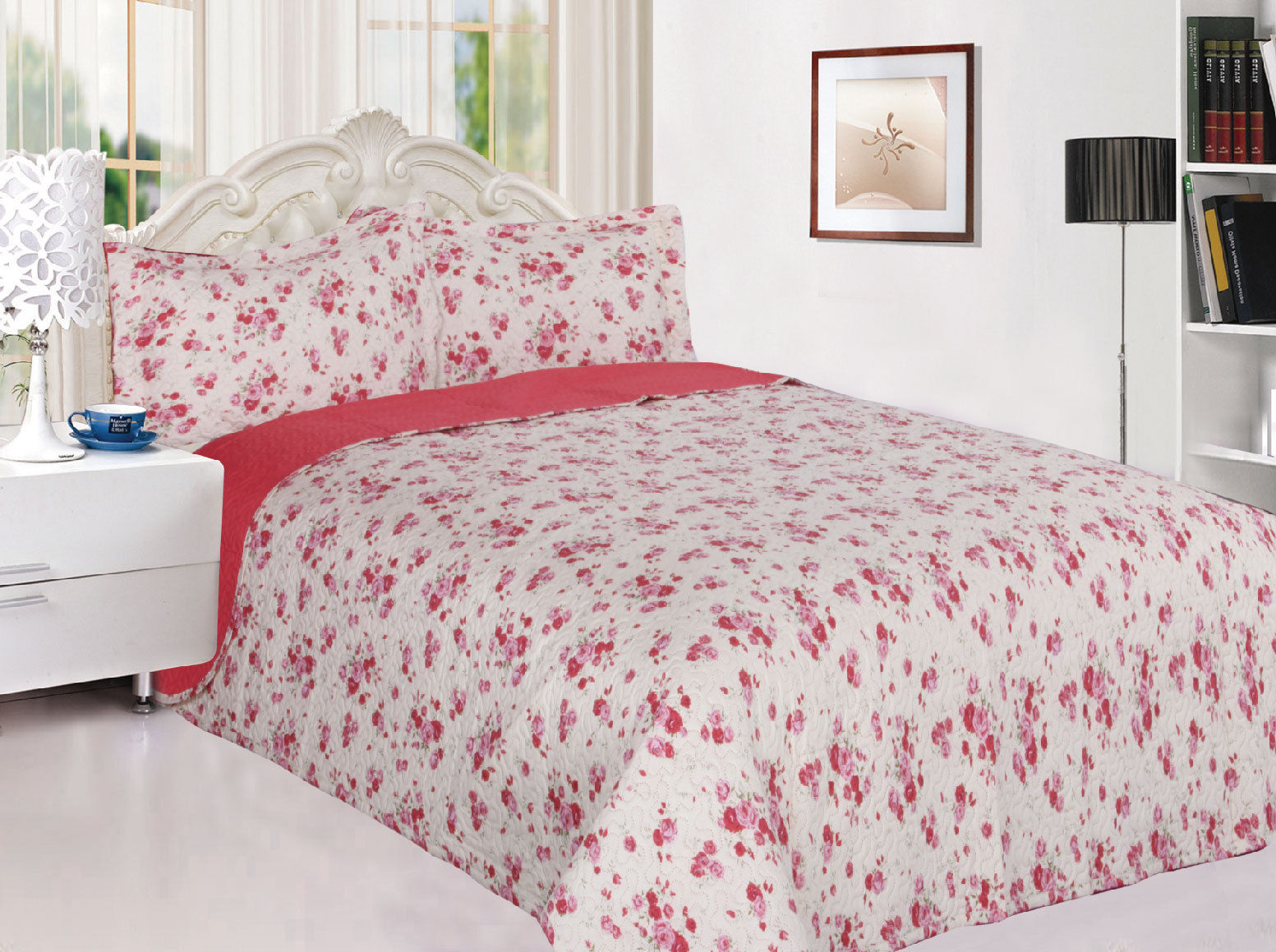 3-Piece Reversible Quilted Printed Bedspread Coverlet Pink Rose Flowers Twin Size by