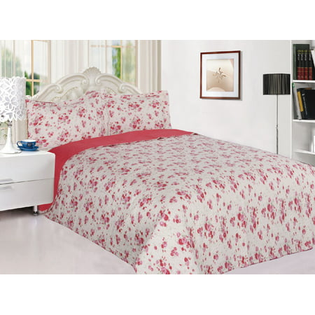 3-Piece Reversible Quilted Printed Bedspread Coverlet Pink Rose Flowers - Queen