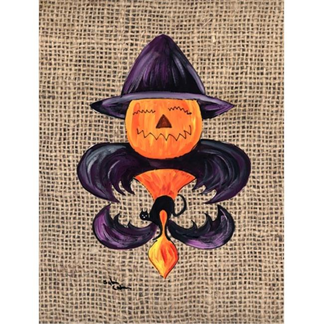 Halloween Pumpkin Bat Fleur de lis Flag Garden Size - image 1 of 1