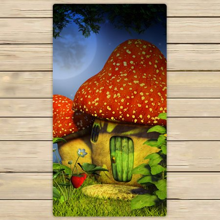 Cottage Towel - YKCG Fantasy Meadow Colorful Mushroom Cottage Hand Towel Beach Towels Bath Shower Towel Bath Wrap For Home Outdoor Travel Use 30x56 inches