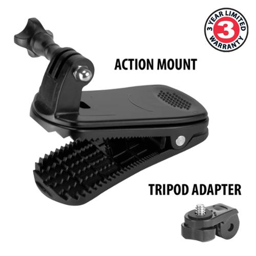 USA Gear Action Camera Clip Mount with Injection Molded Durable Plastic , 360 Degree Rotating Head & J-Hook & Screw Adapter - Attach it to your Hat , Visor , Backpack & more *Includes Cleaning Cloth*