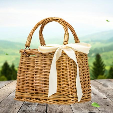 Women Woven Square Rattan Straw Bag Bohemia Style Handbag Beach Circle Tote Purse