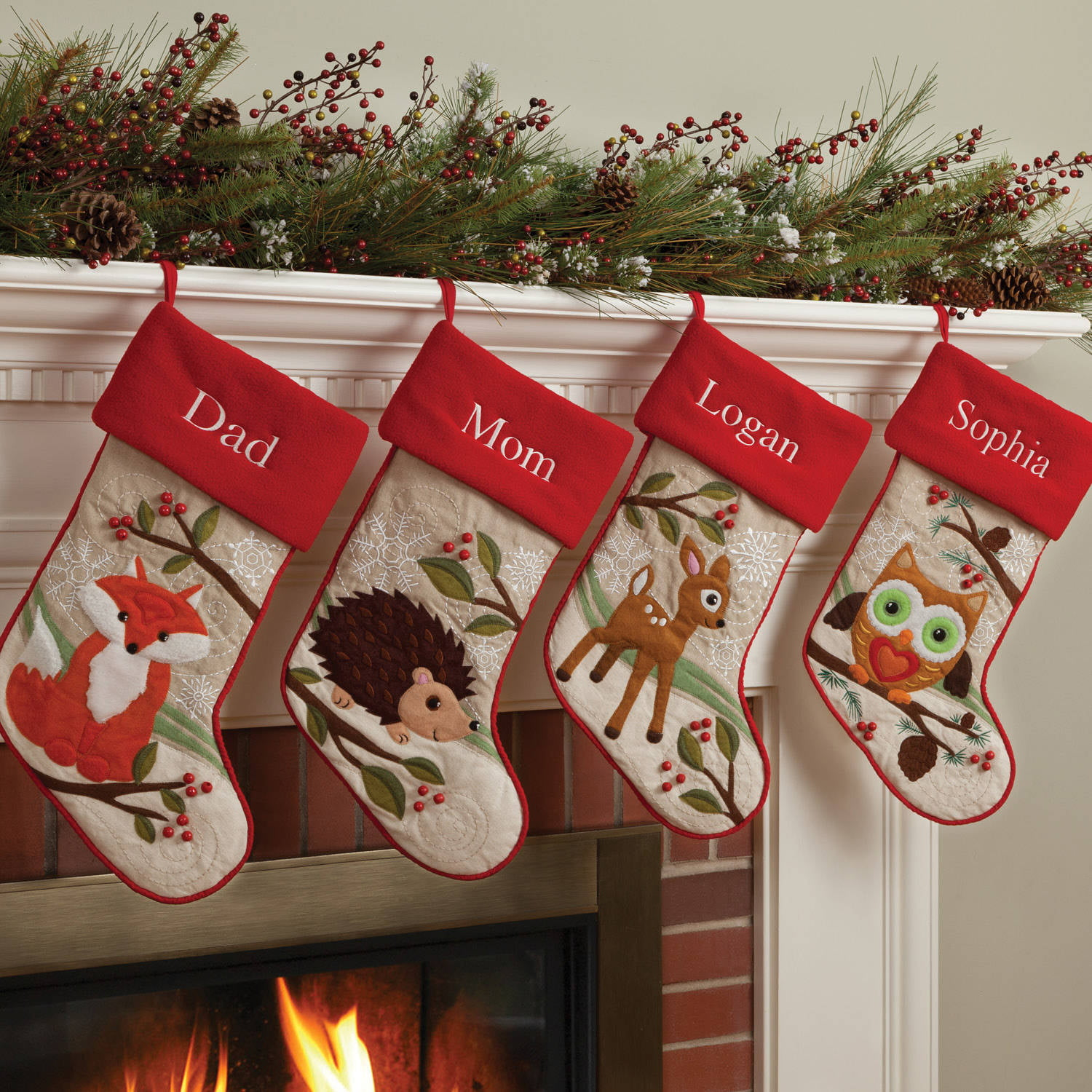 Christmas Stocking Personalized.Personalized Forest Friend Christmas Stocking Available In Different Animals