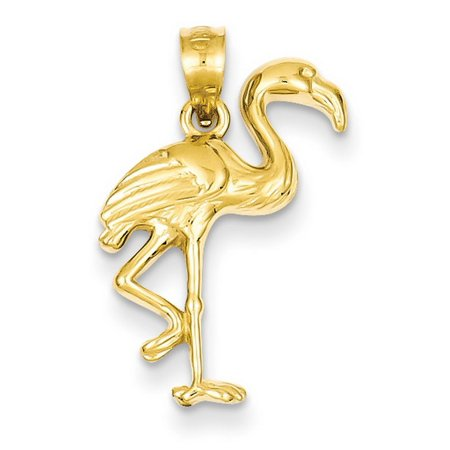 Yellow Gold Flamingo (14k Yellow Gold Solid Polished Flamingo Pendant )