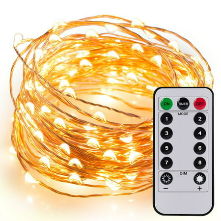 String Lights Remote Control : Kohree 60 LEDs String Lights with Remote Control 20ft 6M Long Thin String Copper Wire Decor Rope ...