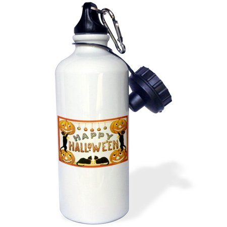 3dRose Vintage Happy Halloween Jack O Lanterns and Black Cats, Sports Water Bottle, - Halloween Milk Bottle Lanterns