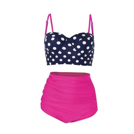 d6fc1c5db101f FeelinGirl - FeelinGirl Women's Retro Polka Underwire Bikini High Waisted  Swimsuit Bathing Suits - Walmart.com