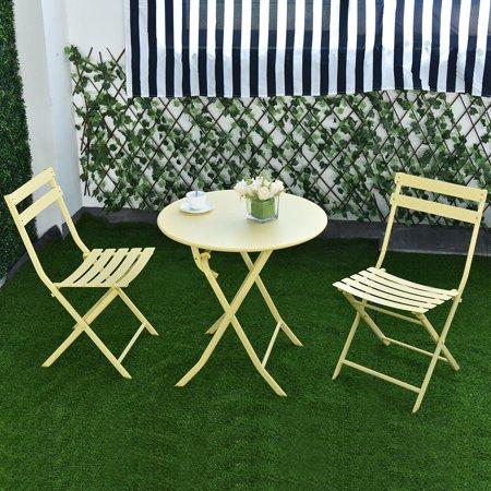 GHP 2-Pcs 264-Lbs Capacity Yellow Iron Folding Chairs & Table Set Patio Furniture