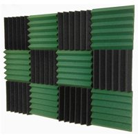 2x12x12-12PK DARK GREEN/CHARCOAL Acoustic Wedge Soundproofing Studio Foam