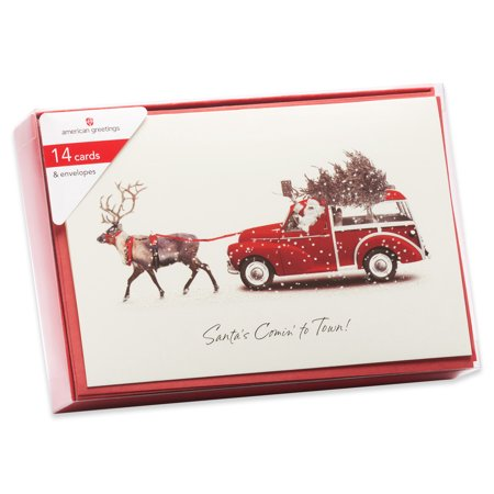 American Greetings 14-Count Value Christmas Boxed Cards with Red Envelopes, Deer Pulling Station Wagon ()