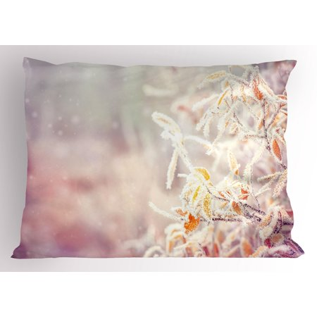 Winter Pillow Sham Snow Branches Tree Leaves Snowflakes Holiday Christmas Theme November Nature, Decorative Standard Size Printed Pillowcase, 26 X 20 Inches, Orange Pink White, by Ambesonne](Winter Holiday Themes)