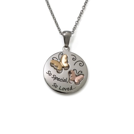 Stainless Steel So Special So Loved Butterfly Pendant, 18 Chain ()