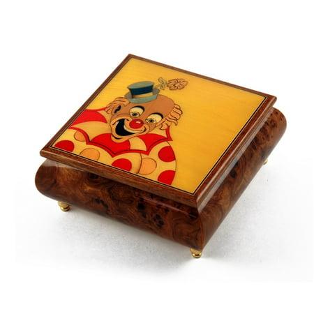 Joyful 22 Note Clown with Polka Dot Custom Wood Inlay Musical Jewelry Box